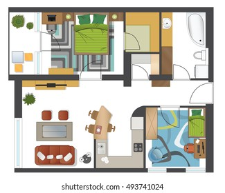 Ground Floor Plan Floorplan House Home Stock Vector HD (Royalty Free ...