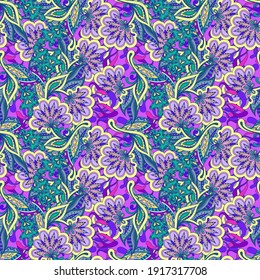A colorful floral background with many intricate details.