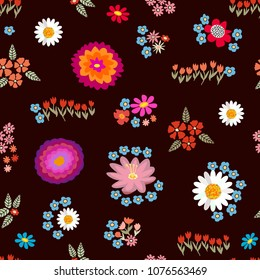 Colorful floral carpet. Seamless vector pattern with different floral elements. Chrysanthemums, chamomiles on brown background. Japanese, Chinese, Korean motifs. Vintage textile collection.