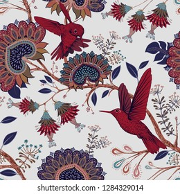 Colorful floral decorative pattern with red birds. Indonesian batik. Stylized flowers and paisley on the light backdrop. Indian pattern. Design for fabric, carpet, cover, textile, wrapping paper