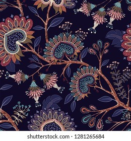 Colorful floral decorative pattern. Vector Indonesian floral batik. Vector indian background. Stylized flowers and shapes on the dark backdrop. Design for fabric, carpet, cover, textile, pillow