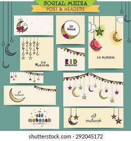 Colorful floral design decorated social media ads, post, headers or banners for Muslim community festival, Eid Mubarak celebration.
