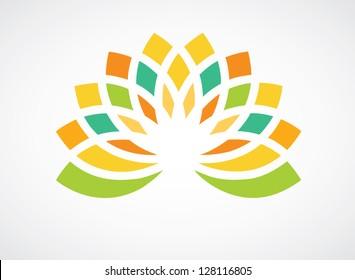 Colorful floral design element for logo designing