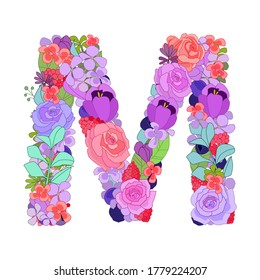 Colorful floral font alphabet with roses. Beautiful capital letter M