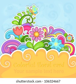 Colorful floral greeting card in paper style