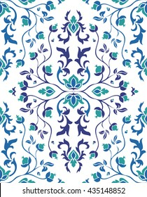 Colorful floral ornament. Seamless vector pattern of blue elements on a white background.