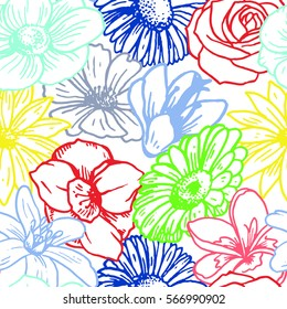 Colorful floral pattern with many different flowers. Seamless pattern vector.