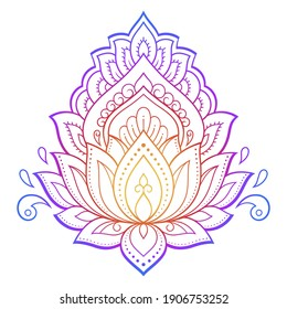 Colorful floral pattern for Mehndi and Henna drawing. Hand-draw lotus symbol. Decoration in ethnic oriental, Indian style. Rainbow design on white background.