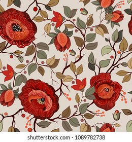 Colorful floral pattern. Vector wallpaper with big illustration flowers. Hand drawn plants, roses