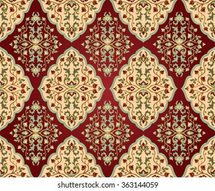 Colorful, floral persian ornament. Template for oriental carpets, textiles, shawl and any surface. Seamless vector pattern of gold contours on a red background.