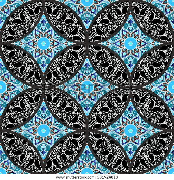 Colorful floral seamless patchwork pattern with mandala in boho chic style, in portuguese and moroccan motif