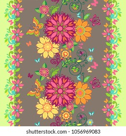 Colorful floral seamless pattern with butterflies and with a flower border.  Floral wallpaper. Decorative ornament for fabric, textile, wrapping paper.