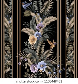 colorful floral seamless pattern with flowers and birds. colibri and plants at the black background