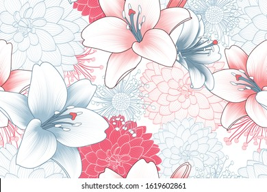 Colorful floral seamless pattern with lily and dahlia flowers. Vector flower elements for wallpaper design, wall decoration, greeting cards, posters, wedding invitations.