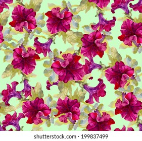 Colorful floral seamless pattern on green background vector