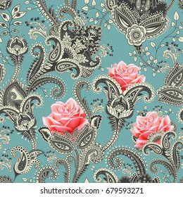 Colorful floral seamless pattern. Roses ornament. Decorative flowers and Paisley. Design for fabrics, cards, web, decoupage. Jacobean pattern with flowers