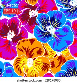 Colorful floral seamless pattern violet, pink, blue and yellow flower pansy, isolated on white vector illustration