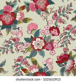 Colorful floral seamless vector pattern with flowers.