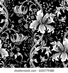 Colorful floral seamless vector pattern for greeting cards, wrapping paper, invitations, etc. Magic fairy garden.