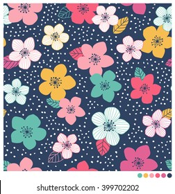Colorful floral seamless vector pattern with dot background