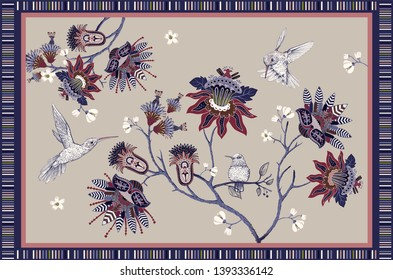 Colorful floral vector design for rug, carpet, tapis, towel, mural, textile. Hand drawn nature backdrop with stylized flowers and birds. Floral  ornament with decorative elements. Ethnic design