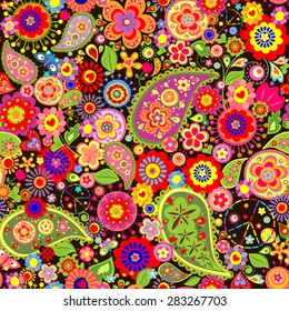 Colorful floral wallpaper with hippie symbolic
