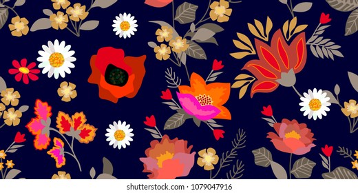 Colorful flourish border with gypsy motifs. Seamless floral pattern with abstract flowers and leaves. Botanical print on black background. Vintage textile collection.