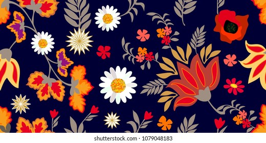 Colorful flourish border with gypsy motifs. Seamless floral pattern with chamomiles, poppies and leaves. Botanical print on black background. Vintage textile collection.