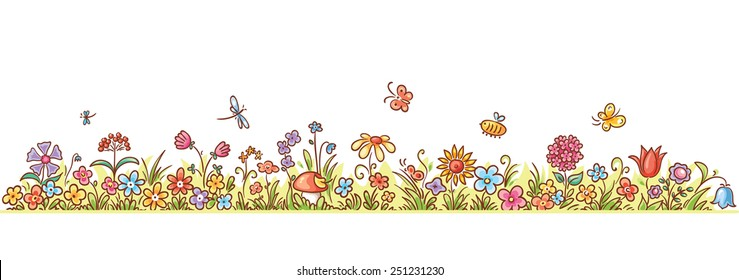 Colorful flower border with lots of cartoon flowers, grass and butterflies, no gradients