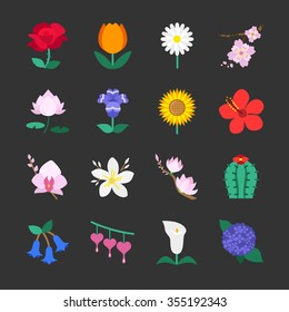 Colorful flower icons. Included the icons as rose , tulip, cactus, sakura, lotus, gardenia and more.