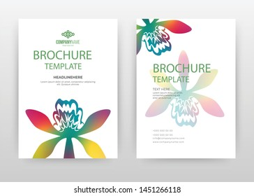 Colorful flower petal design for annual report, brochure, flyer, poster. Colorful flower petal illustration vector illustration for flyer, leaflet. Multipurpose floral abstract A4 brochure template