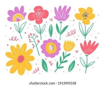 Colorful flower set. Spring season. Flat style vector illustration. Isolated on white background.