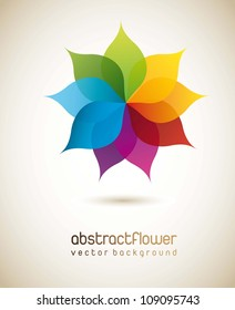 colorful flower with shadow background. vector illustration