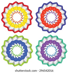 Colorful flower shaped ornaments set, paper flowers.