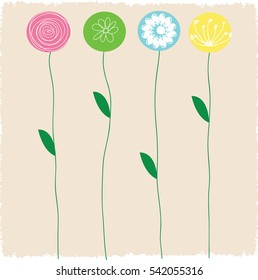 Colorful flower stems of green,vector illustration design.