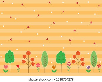 Colorful flower and tree on gradient stripe pastel orange or yellow background with red heart and white dot. Sweet and beautiful vector pattern for fresh spring season wallpaper in botanicals concept.