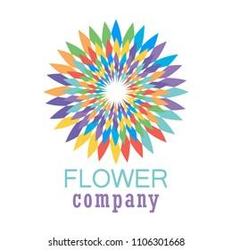 Colorful flowera logo, symbol, vector illustration.