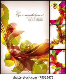 Colorful flowers background set