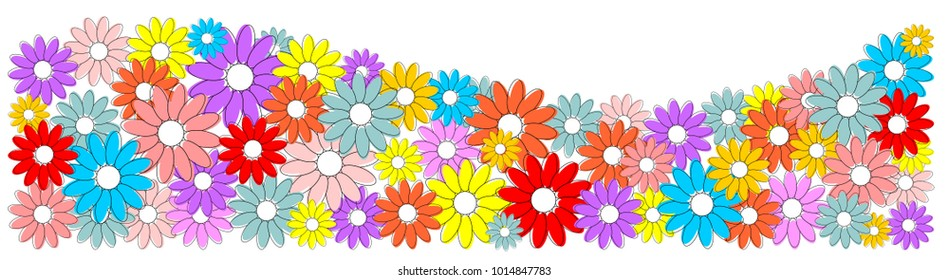 Colorful flowers as an banner, wave