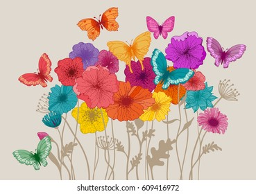 Colorful flowers and butterflies, eps10 vector