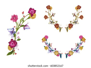 Colorful Flowers and butterfly patches, floral embroidery for t-shirt design, neck line print. Hand drawn separated editable elements, retro, vintage vector illustration, isolated on background.