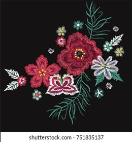 colorful flowers embroidery