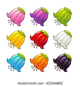 Colorful flowers icons set. Vector isolated floral elements.