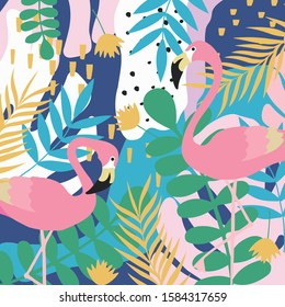 Colorful flowers and leaves poster background with flamingos vector illustration design. Exotic tropical plants art print for travel and holiday, fashion, spa and wellness, wedding and events