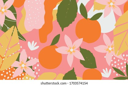 Colorful flowers and leaves poster background vector illustration. Exotic plants, branches, flowers, leaves and oranges art print for fashion and natural products, spa, wellness, weddings and events
