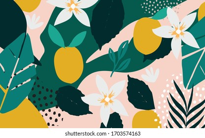 Colorful flowers and leaves poster background vector illustration. Exotic plants, branches, flowers, leaves and lemons art print for fashion and natural products, spa and wellness, weddings and events
