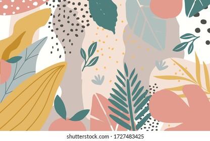 Farbenfrohe Blumen und Blätter Poster Hintergrund Vektor-Illustration. Exotische Pflanzen, Zweige, Blumen und Blätter Kunstdruck für Schönheit, Mode und Naturprodukte, Spa und Wellness, Hochzeit und Veranstaltung