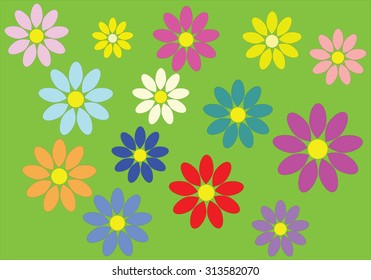 Colorful flowers that make a carpet on green background