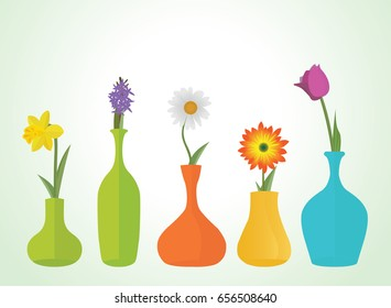 Colorful Flowers in Vases Vector Illustration