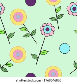 Colorful flowers vector pattern. Seamless Vectorn pattern. Abstract floral vector pattern.